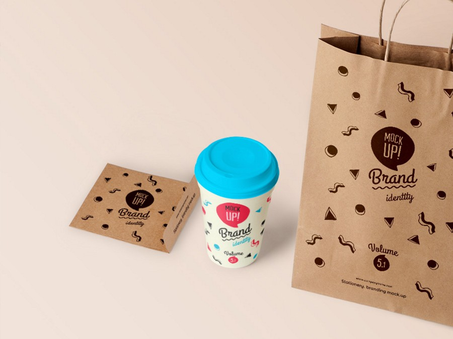 brand mockup bag and cup of coffee