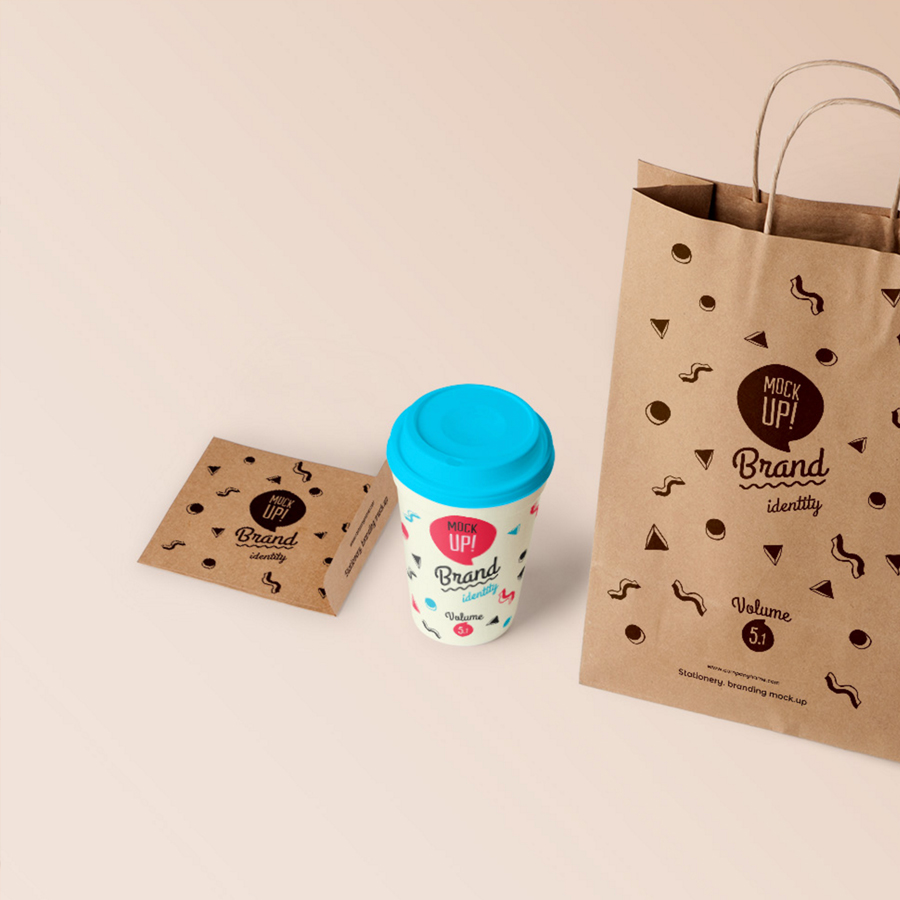 brand mockup bag and cup of coffee