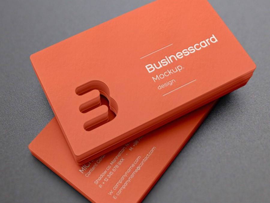 orange business card mockup design