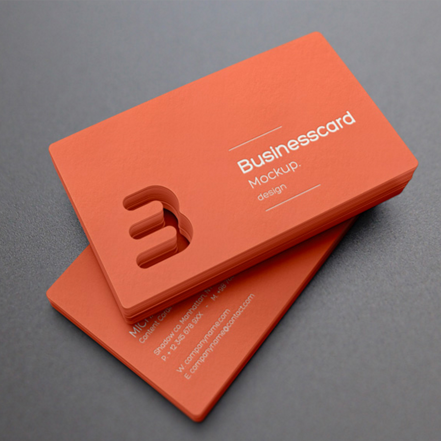 orange business card mockup design