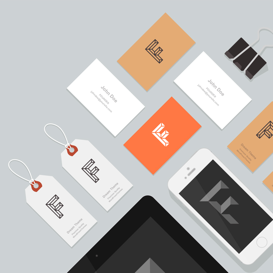 business card mockup on grey background