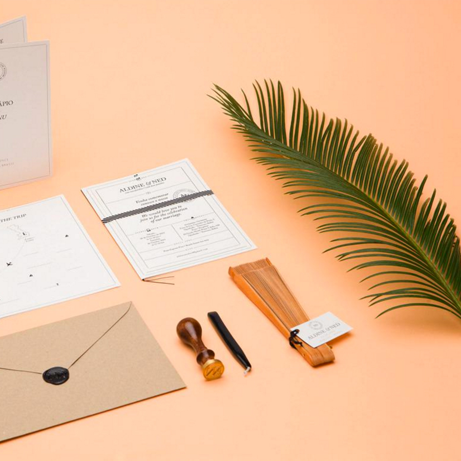 stationery mockup on orange background