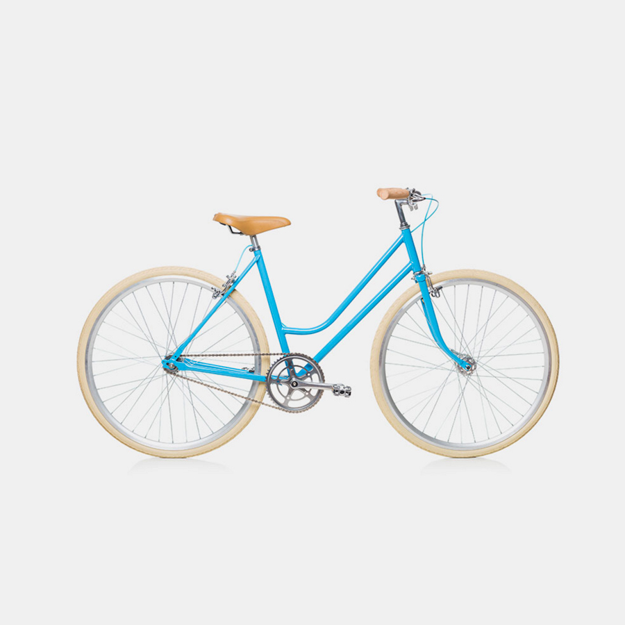 blue bike on white background