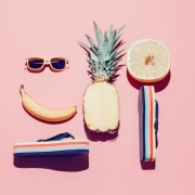 banana and sunglasses face with pineapple orange and flip flops