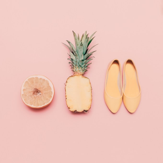 orange pineapple and flat shoes